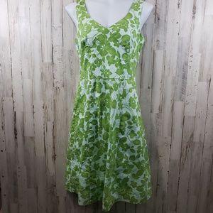 Garnet Hill Dress Green Floral V-Neck and Back